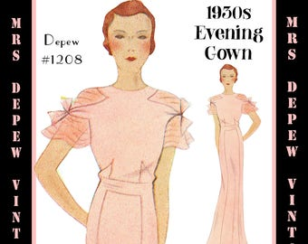 Vintage Sewing Pattern 1930s Evening Gown in Any Size- PLUS Size Included- Depew 1208 -INSTANT DOWNLOAD-