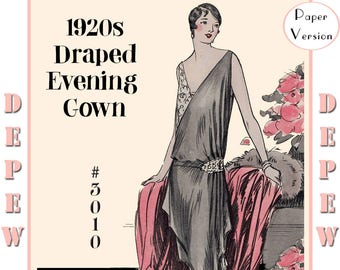 Mrs depew vintage by mrsdepew on etsy vintage sewing pattern instructions 1920s flapper easy draped evening gown depew 3010 paper version fandeluxe Images