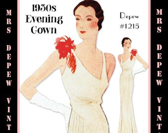 Vintage Sewing Pattern 1930s Evening Gown in Any Size- PLUS Size Included- Depew 1215 -INSTANT DOWNLOAD-