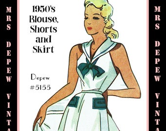 Vintage Sewing Pattern 1950s Sailor Playsuit & Skirt Depew 5155 in Any Size - PLUS Size Included  -INSTANT DOWNLOAD-