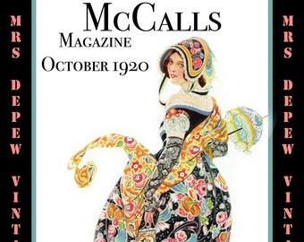 Vintage Sewing Pattern Advertisement Collection McCall's Magazine October 1920 PDF -INSTANT DOWNLOAD-