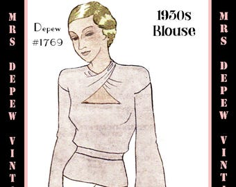 Vintage Sewing Pattern 1930's Wrap Neck Blouse in Any Size- Plus Size Included- Depew C-1769 -INSTANT DOWNLOAD-