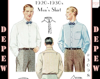 Menswear Vintage Sewing Pattern 1920s 1930s Men's Shirt with Collar Options #3098 -INSTANT DOWNLOAD-