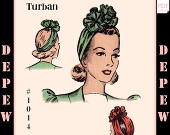Vintage Sewing Pattern 1940s Turban Rosette Hat One Size #1014 -INSTANT DOWNLOAD-