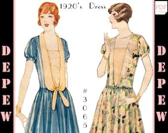 Vintage Sewing Pattern Ladies' 1920s Dress #3065 - INSTANT DOWNLOAD