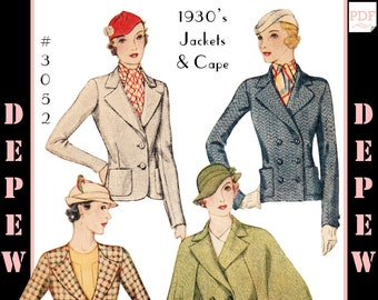 Vintage Sewing Pattern Ladies' 1930s Jacket and Cape #3052 - INSTANT DOWNLOAD