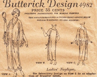 Original Vintage Sewing Pattern 1920s Negligee Robe Butterick 4982 36 Inch Bust