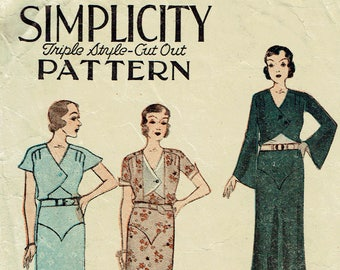"""Vintage Sewing Pattern Early 1930s Simplicity 1087 Day Dress 38"""" Bust - Hard to find! - Free Pattern Grading E-book Included"""