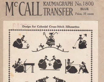 Vintage Sewing Pattern 1930s McCall 1800 Colonial Themed and Alphabet Cross Stitch Motif Transfer