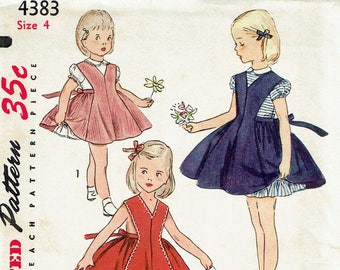 1950s Vintage Sewing Pattern Girl's Blouse-Petticoat, Jumper, Pinafore Simplicity 4383 Size 4