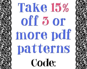 fee1eb0a87881 Save 15 Percent Off 3 PDF Digital Sewing Patterns OR E-Books Deal Coupon  Code