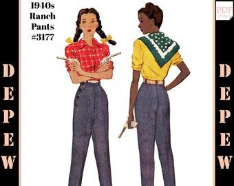 "Vintage Sewing Pattern 1940s Ladies' Ranch Pants Trouser #3177 Multisize 24-40"" Waist - INSTANT DOWNLOAD PDF"