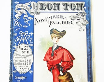 Rare Antique Le Bon Ton Ladies' Sewing Pattern Catalog and Fashion Magazine Fall 1903