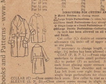 Vintage Sewing Pattern Boys' Coat Superior 9105 Size Age 6 1910s 1920s