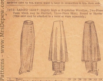 Original Antique Vintage Sewing Pattern 1910s Tunic and Plain Skirts Standard 7673