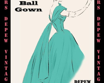 Vintage Sewing Pattern 1950s Long Sleeve Evening Gown In Etsy