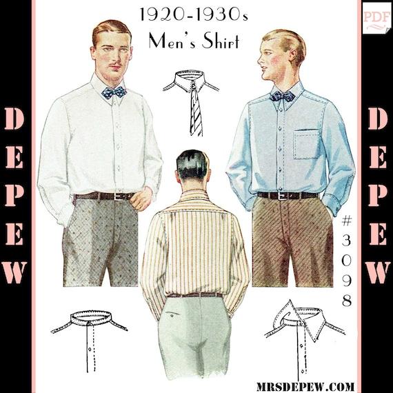 Menswear Vintage Sewing Pattern 1920s 1930s Men\'s Shirt | Etsy