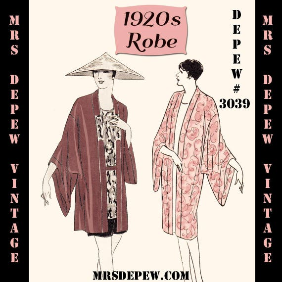 Vintage Sewing Pattern Instructions 60s Flapper Easy Kimono Etsy Awesome Kimono Sewing Pattern