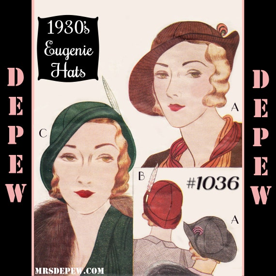 1930s Style Hats | Buy 30s Ladies Hats 1930s Ladies Eugenie Hats #1036 - INSTANT DOWNLOAD $8.50 AT vintagedancer.com