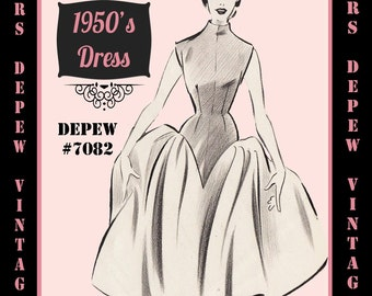 Vintage Sewing Pattern 1950's Evening or Cocktail Dress in Any Size - PLUS Size Included - Depew 7082 -INSTANT DOWNLOAD-