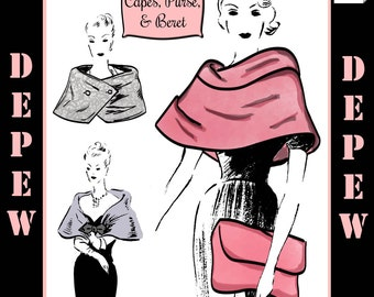 Vintage Sewing Pattern Print-at-Home 1950's Capes, Purse and Beret #3041 - INSTANT DOWNLOAD