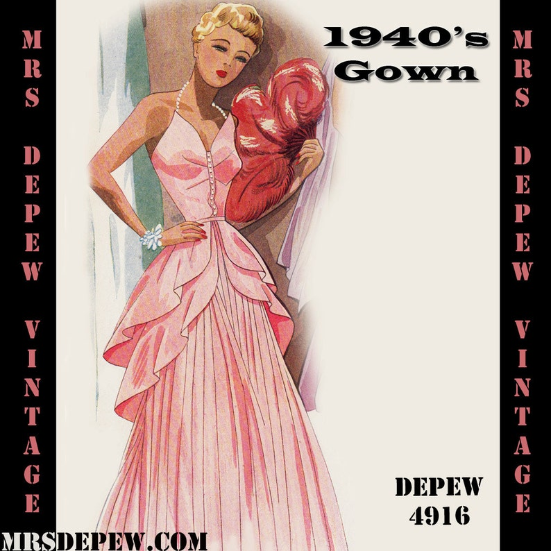 caac22e7960 Vintage Sewing Pattern 1940s Evening Gown in Any Size PLUS