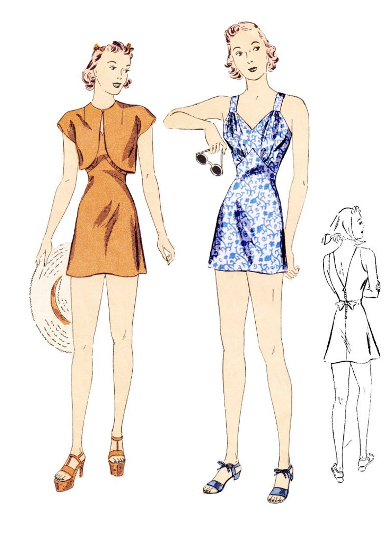 1930s Swimsuits- Ladies' Bathing Suits History Vintage Sewing Pattern 1930s Ladies Pin Up Bathing Suit Bolero and Kerchief 34