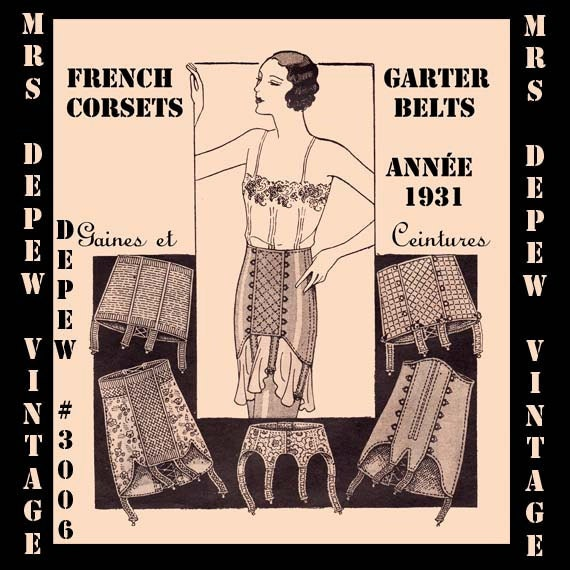 Retro Lingerie, Vintage Lingerie, 1940s-1970s  1930s Corset Garter Belt and Girdle Digital Pattern #3006 -INSTANT DOWNLOAD- $7.50 AT vintagedancer.com