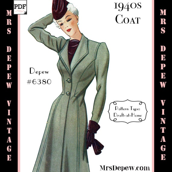 1940s Sewing Patterns – Dresses, Overalls, Lingerie etc 1940s Ladies Coat Any Size Depew 6380 $7.50 AT vintagedancer.com