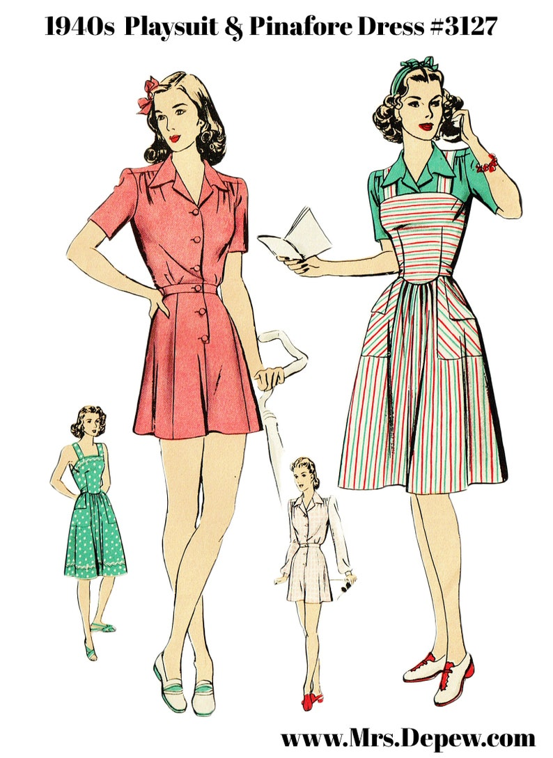 1940s Sewing Patterns – Dresses, Overalls, Lingerie etc Vintage Sewing Pattern 1940s Ladies Playsuit Blouse Shorts and Pinafore Dress Multisize #3127 -INSTANT DOWNLOAD- $14.00 AT vintagedancer.com