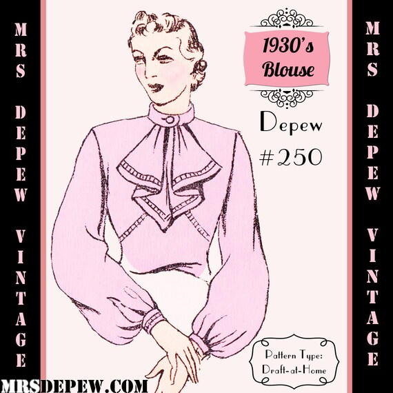 1930s Sewing Patterns- Dresses, Pants, Tops 1930s Long Sleeve Blouse in Any Size Depew #250 Draft at Home Pattern - PLUS Size Included -INSTANT DOWNLOAD- $7.50 AT vintagedancer.com