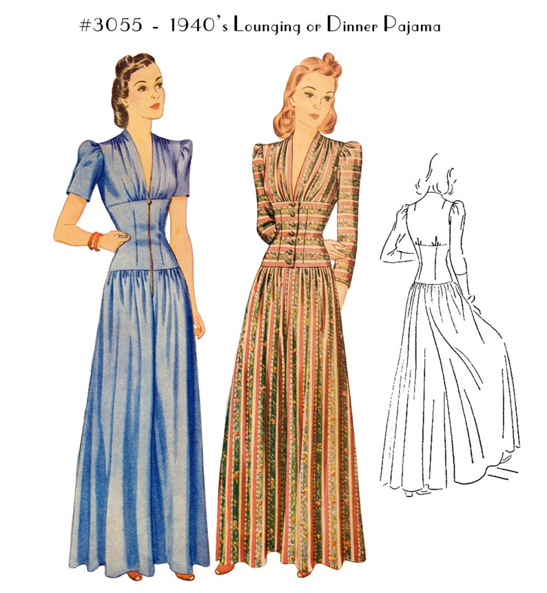 1940s Sleepwear: Nightgowns, Pajamas, Robes, Bed Jackets Vintage Sewing Pattern Ladies 1940s Dinner or Lounge Pajama #3055 - INSTANT DOWNLOAD $9.50 AT vintagedancer.com