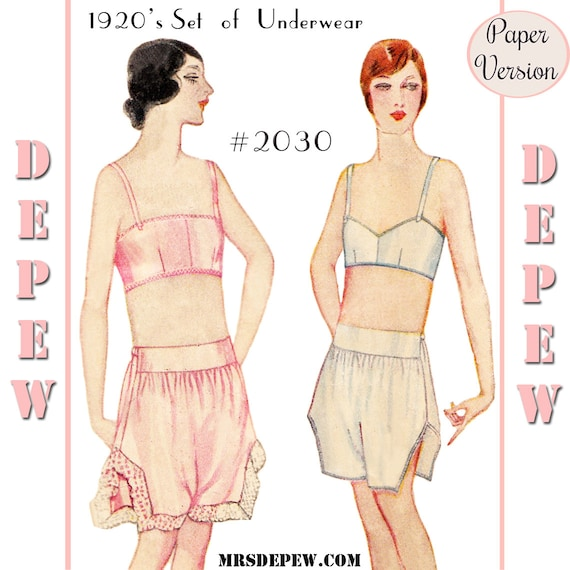 1920s Patterns – Vintage, Reproduction Sewing Patterns 1920s Bandeau Bra and Step-Ins Multi-Size #2030 - PAPER VERSION $18.50 AT vintagedancer.com