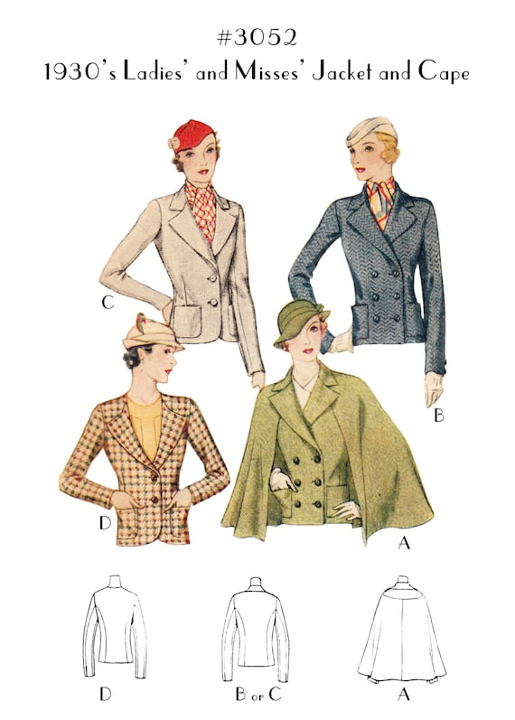 1930s Sewing Patterns- Dresses, Pants, Tops Vintage Sewing Pattern Ladies 1930s Jacket and Cape #3052 - INSTANT DOWNLOAD $8.50 AT vintagedancer.com