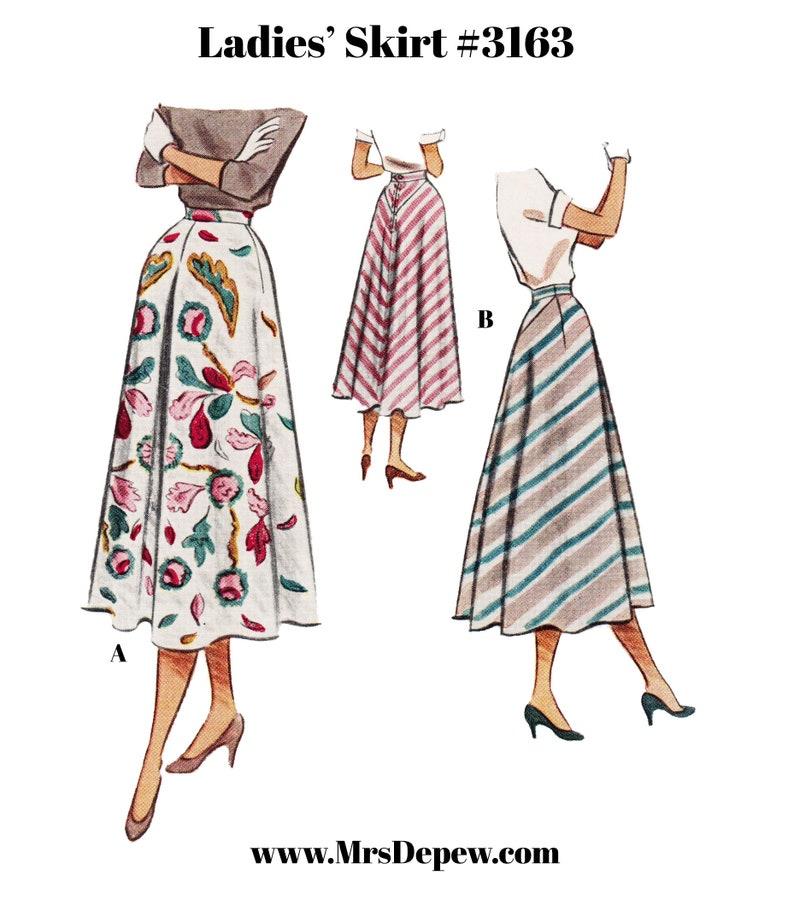 "1940s Sewing Patterns – Dresses, Overalls, Lingerie etc Vintage Sewing Pattern Ladies 1940s 1950s Skirt Multisize #3163 24-38"" Waist- Instant Download PDF $9.50 AT vintagedancer.com"