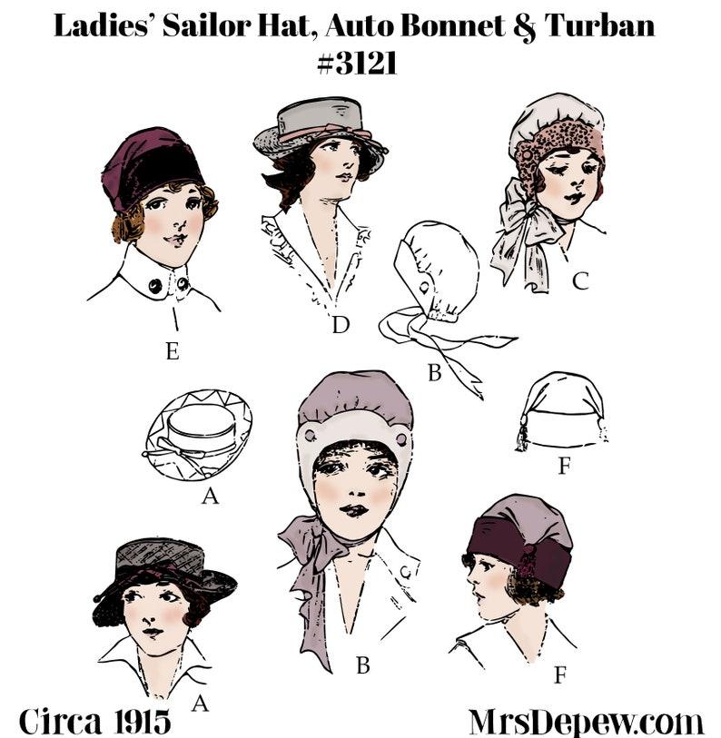Edwardian Sewing Patterns- Dresses, Skirts, Blouses, Costumes Vintage Sewing Pattern 1910s Ladies' Sailor hat Auto Bonnet and Turban 1915 #3121-INSTANT DOWNLOAD- $7.50 AT vintagedancer.com