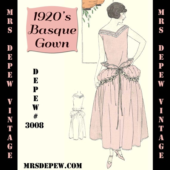 Vintage Sewing Pattern Instructions 1920s Easy Basque Dress