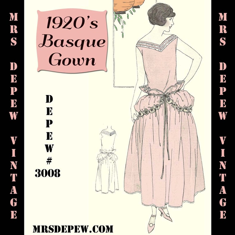 1920s Patterns – Vintage, Reproduction Sewing Patterns 1920s Easy Basque Dress Ebook PDF Depew 3008 -INSTANT DOWNLOAD- $7.50 AT vintagedancer.com