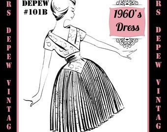 Vintage Sewing Pattern 1960's Evening or Cocktail Dress in Any Size - PLUS Size Included - Depew 101B -INSTANT DOWNLOAD-