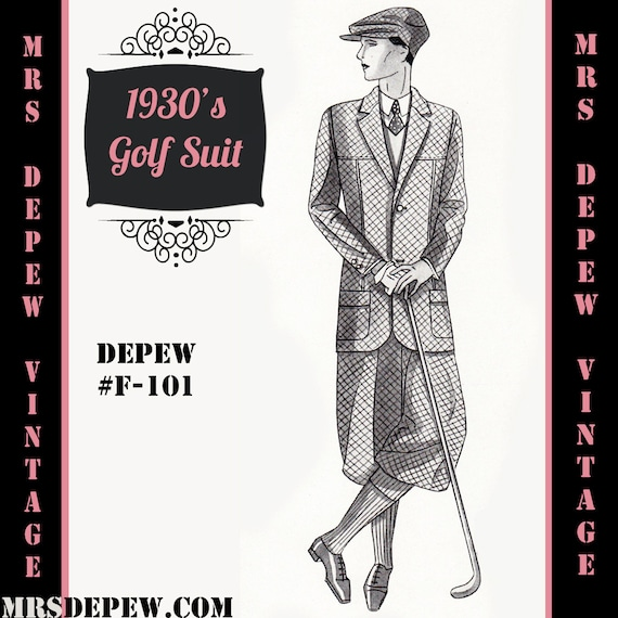 Men's Vintage Reproduction Sewing Patterns Menswear Vintage Sewing Pattern 1930s Mens Golf Suit Coat and Trousers in Any Size Depew F-101 - Plus Size Included -INSTANT DOWNLOAD- $9.50 AT vintagedancer.com