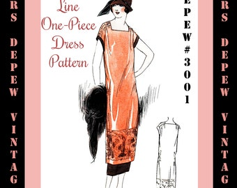 Vintage Sewing Pattern Instructions 1920s 1-Hour One Piece Dress Ebook Depew 3001 -INSTANT DOWNLOAD-