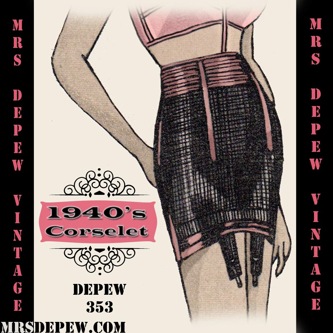 Vintage Sewing Pattern 1940s Corset Garter Belt in Any ...