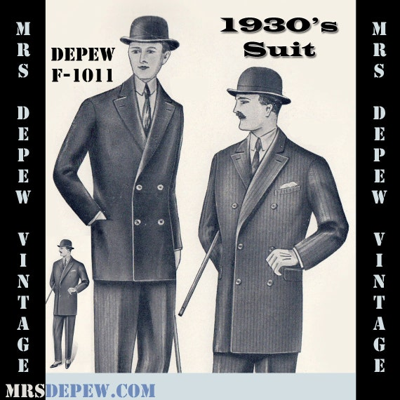 Men's Vintage Reproduction Sewing Patterns 1930s Double Breasted Suit Coat and Trousers $9.50 AT vintagedancer.com