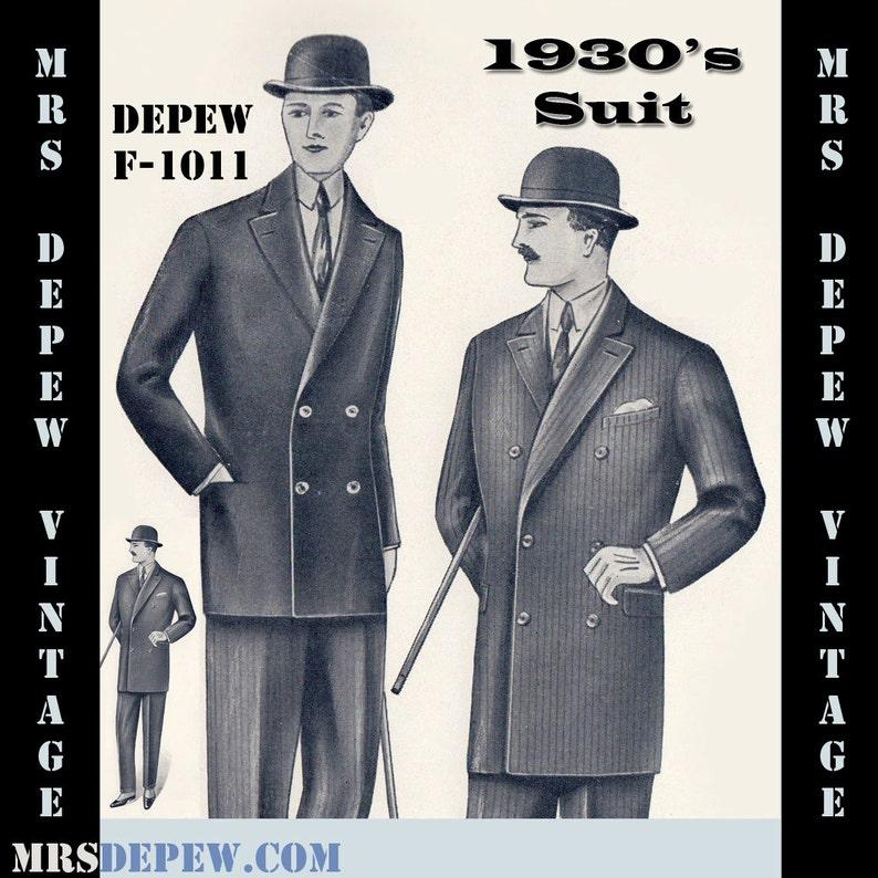 Menswear Vintage Sewing Pattern 1930's Men's Double image 0