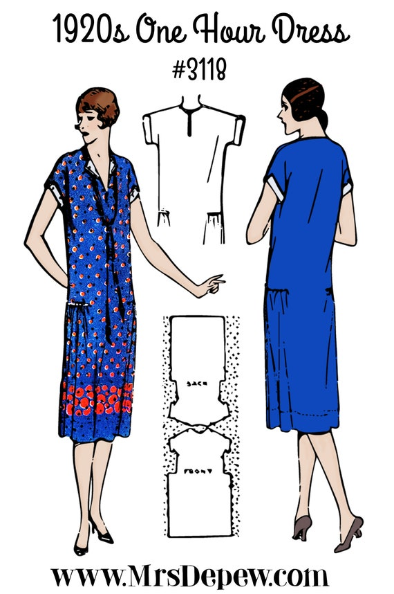 1920s Patterns – Vintage, Reproduction Sewing Patterns 1920s MultiSize One Hour Dress Full-Sized Pattern # 3118 - INSTANT DOWNLOAD $8.50 AT vintagedancer.com