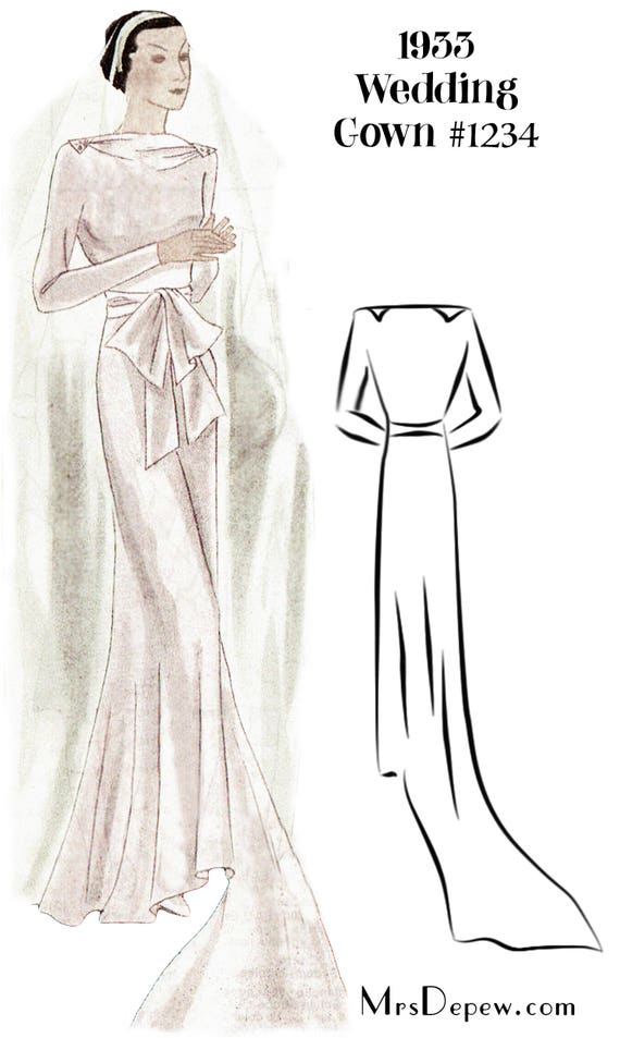 1930s Style Wedding Dresses | Art Deco Wedding Dress 1930s Wedding Gown in Any Size- PLUS Size Included- Depew 1234 -INSTANT DOWNLOAD- $9.50 AT vintagedancer.com