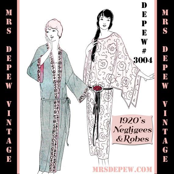 Patrón de costura Vintage instrucciones 1920 aleta Neglige | Etsy