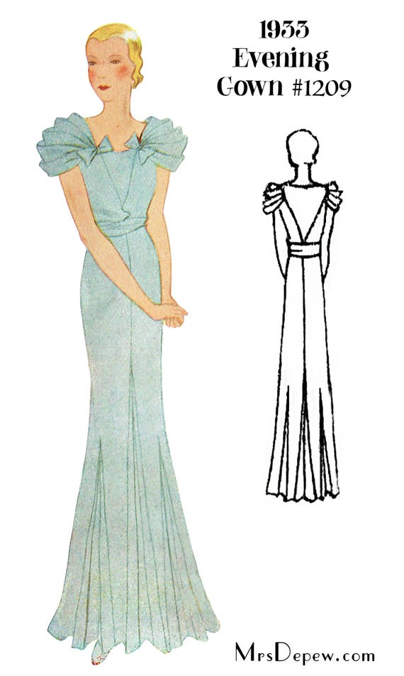 1930s Fashion Colors & Fabric 1930s Evening Gown in Any Size- PLUS Size Included- Depew 1209 -INSTANT DOWNLOAD- $9.50 AT vintagedancer.com