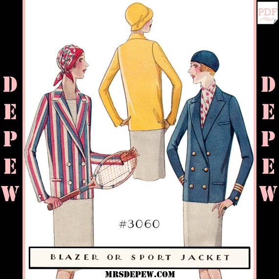 1920s Patterns – Vintage, Reproduction Sewing Patterns 1920s Blazer Sport Jacket $8.50 AT vintagedancer.com