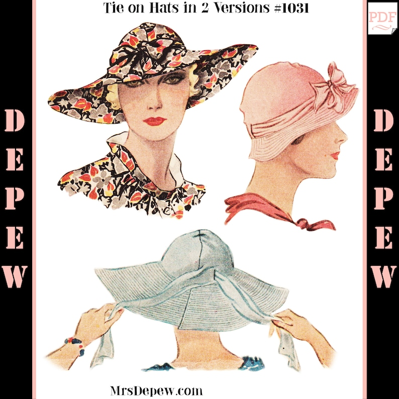 1930s Style Hats | Buy 30s Ladies Hats Vintage Sewing Pattern 1930s Tie On Sun Hat in Two Versions Depew 1031 -INSTANT DOWNLOAD- $7.50 AT vintagedancer.com